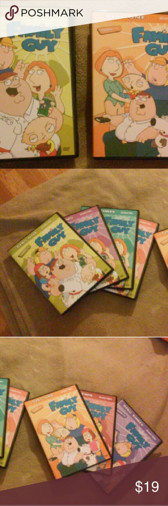 FAMILY GUY Seasons 1-3 DVDs Still in Good condition! FAMILY GUY tv Show on DVD. Seasons 1, 2, & 3. Season 1 doesnt have as many episodes as 2 & 3. The plastic DVD cases are all in great condition. Discs are good..might b a tiny, lil scratch or two. Awesome, hilarious show! Family Guy  Accessories