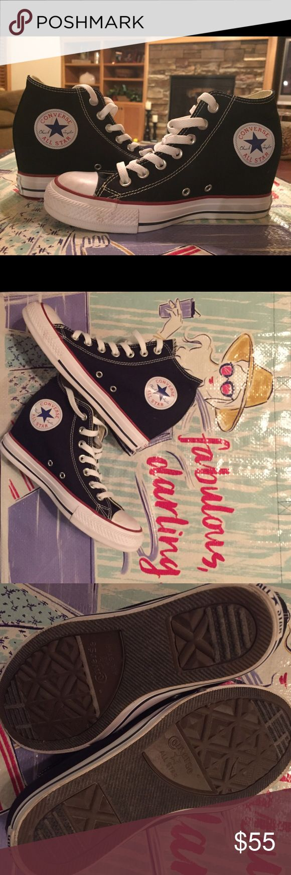 Converse wedge sneakers size 8 Worn twice! Converse wedge sneakers! So cute! I wish I could keep but are a hair too small. Converse Shoes Wedges