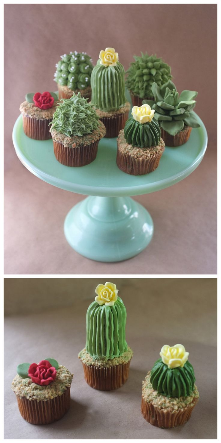 "DIY Cactus Cupcake Tutorial from Alana Jones-Mann here. These cupcakes are topped with graham cracker or Teddy Grahams for the ""dirt"". First seen at Make here. Pair them with knit and pin cushion..."