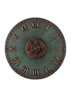 Sterling Verde Roman Numeral Outdoor Wall Clock