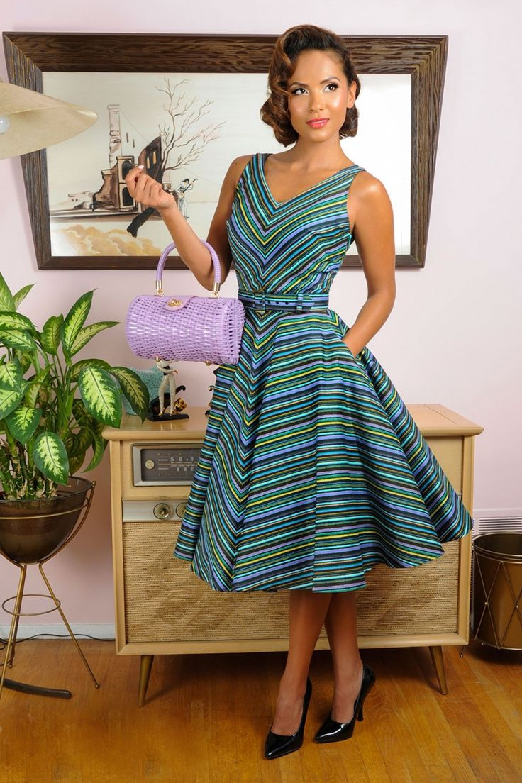 50s Havana Nights Dress In Cabana Stripes Unique