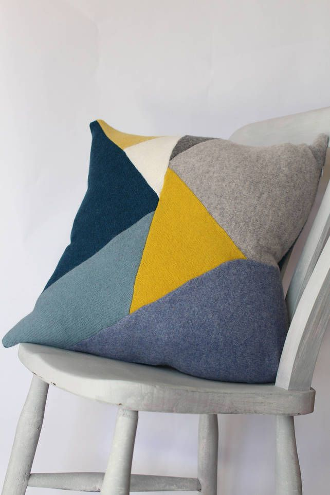 "18"" Cushion Geometric Patchwork Knitted, Lambswool, Blue, Yellow, Grey, White £65.00 More"
