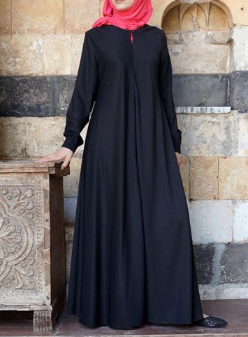 Easy Care Flared Abaya Black color asked for it, and we are happy to oblige: Finally, a wrinkle-resistant version of our popular abayas! The name says it all, and it's as easy to wear as it is to care for. Elasticized sleeves, a front opening, and the perfect flattering, feminine flair work together to create one beautiful, practical piece you'll be reaching for day after day.