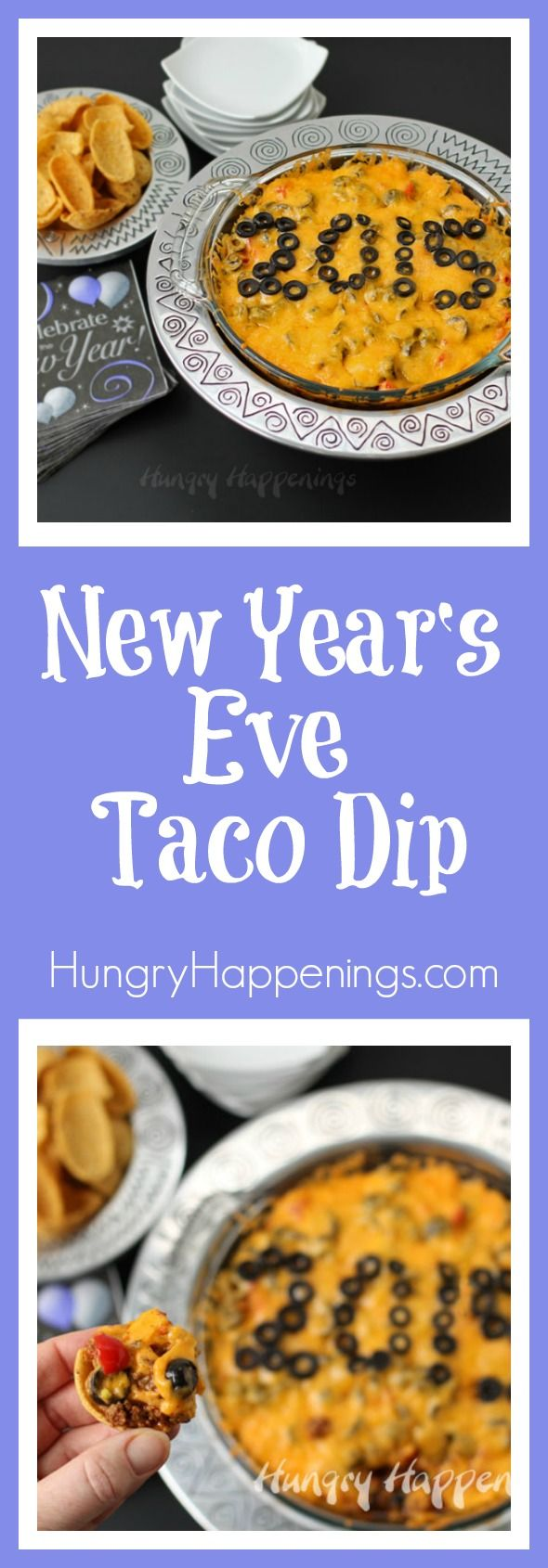 Here's a last minute dish you can serve at your New Year's Eve party. This Taco Dip which can be made hot and spicy or mild and cheesy, is easy to decorate, and everyone loves it.