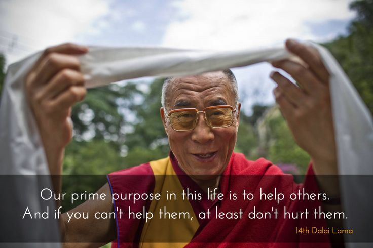 """Prime purpose in this life ~ 14th Dalai Lama http://justdharma.com/s/gx0jh  Our prime purpose in this life is to help others. And if you can't help them, at least don't hurt them.  – 14th Dalai Lama  quoted in the book """"The Back Porch Philosopher: Life Is Simple: It's the Instructions That Are Difficult"""" ISBN: 978-1930596245  -  http://www.amazon.com/gp/product/1930596243/ref=as_li_tf_tl?ie=UTF8&camp=1789&creative=9325&creativeASIN=1930596243&linkCode=as2&tag=jusdhaquo-20"""