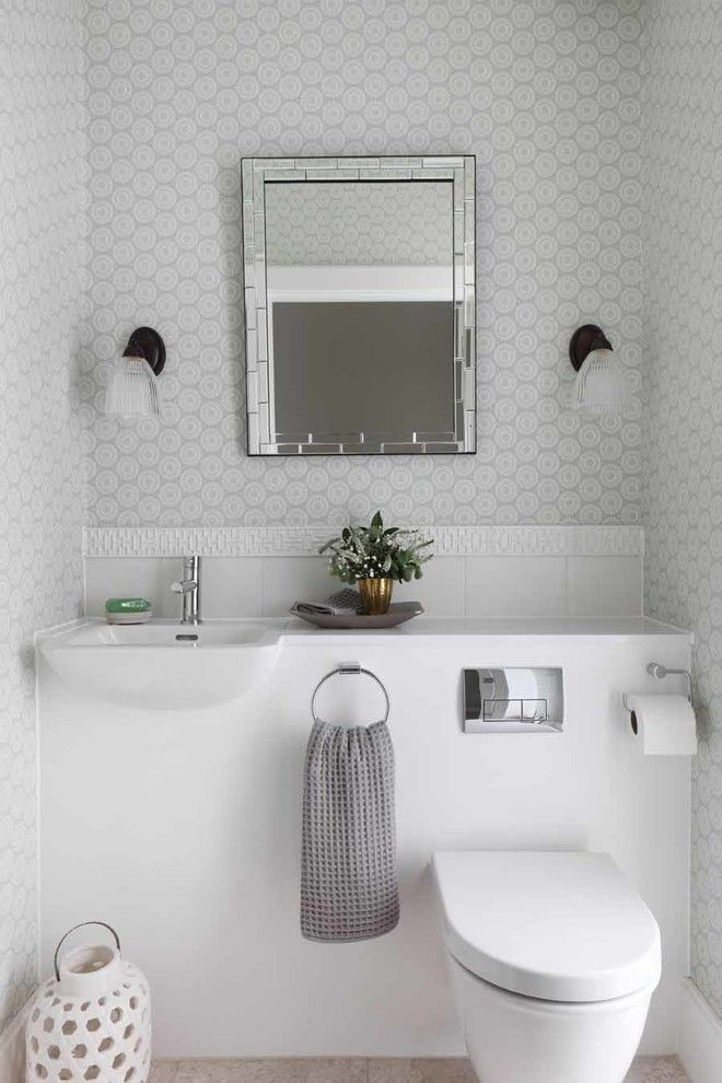 Inspired Free Standing Toilet Paper Holder mode London Contemporary Powder Room Decoration ideas with 1950's built-in sink cloakroom downstairs toilet fretwork tile integrated sink midcentury patterned wallpaper Refurbishment