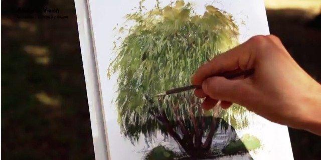 Bienvenue au cœur du parc de la tête d'or à Lyon. C'est un très bel endroit pour dessiner. Le chevalet installé, j'ouvre mon bloc à dessin puis commenc à esquisser un arbre se trouvant en face de moi au crayon B. Je dessine sur du papier aquarelle ce qui n'est pas forcément le meilleur pour