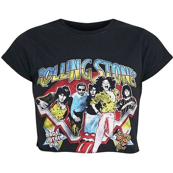 Rolling Stones Slogan Black Cut Off Crop T Shirt ($40) ❤ liked on Polyvore featuring tops, t-shirts, crop top, shirred top, rolled up t shirt, slogan tees and stoner t shirts