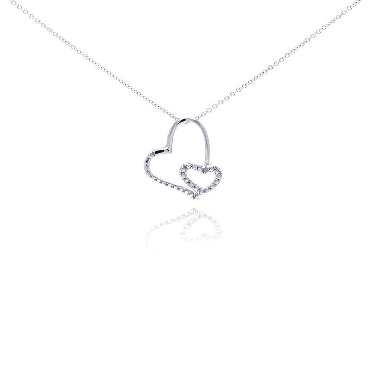 """Sterling Silver Clear Diamond Heart Pendant Necklace 18"""""""