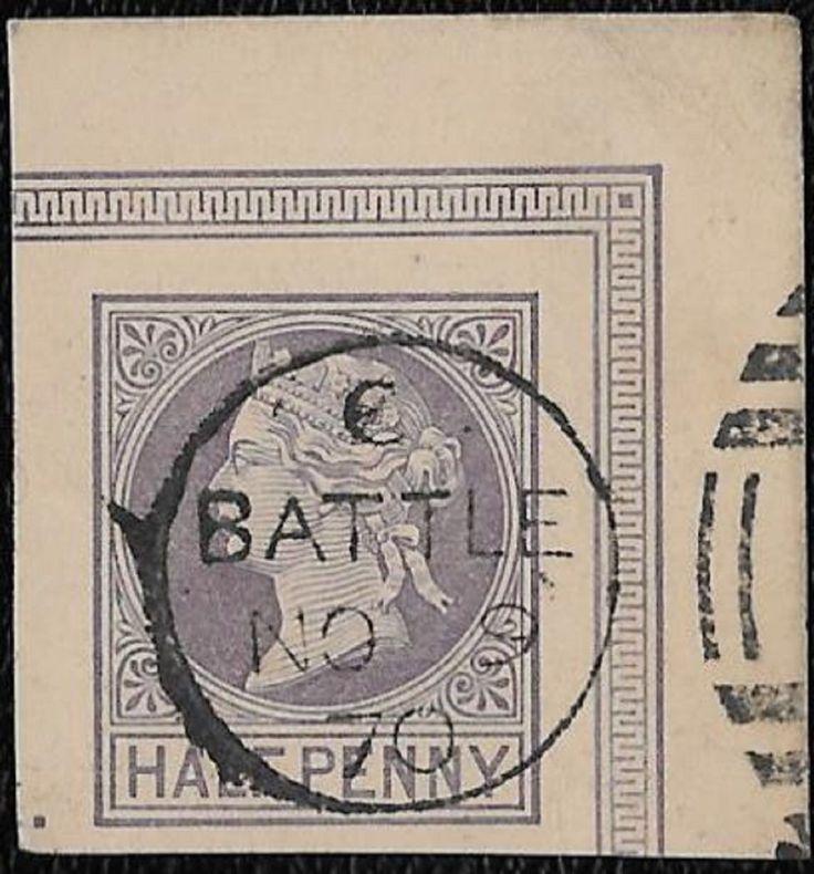 + 1870cd Battle East Sussex U.K.Great Britain QV 1/2p Lilac PC Cut Square