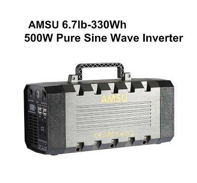 """Features & Benefits"" 6.7lb 500W(Peak 1000W) Portable Solar Generator (UPS, Power Inverter) - 330Wh Battery - Solar/AC/Car Charging Cable - 2 AC & 4 DC 12V & 4 USB Ports"