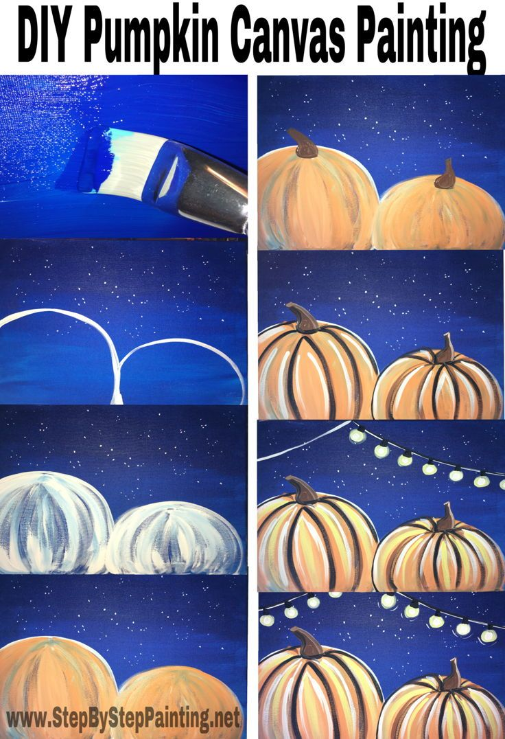Step by step tutorial for how to paint pumpkins on canvas.