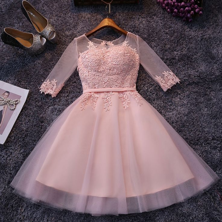 Lace Up Pink Half Sleeve Off Shoulder Short Bridesmaid