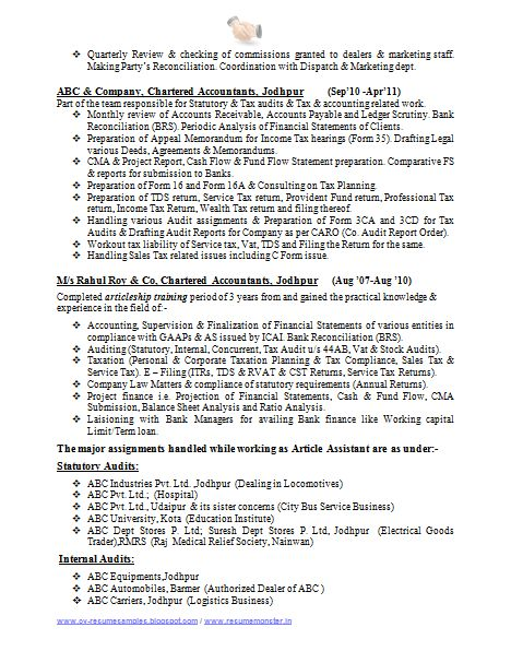 CA Professional Resume Format Free Download (2)