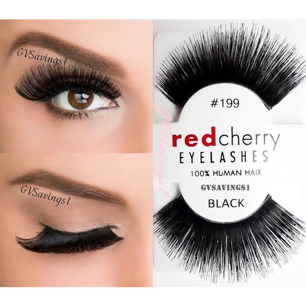 NIB~ Red Cherry #199 False Eyelashes Fake Lashes Extra LONG Dramatic... ($1.97) ❤ liked on Polyvore featuring beauty products, makeup, eye makeup, false eyelashes, red eye makeup, black eye makeup et black false eyelashes