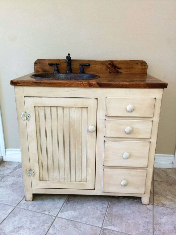"Country Pine Bathroom Vanity with Hammered Copper Sink: 36 inch wide Rustic Bathroom Vanity - Antique white finish - 36""- Farmhouse Vanites"