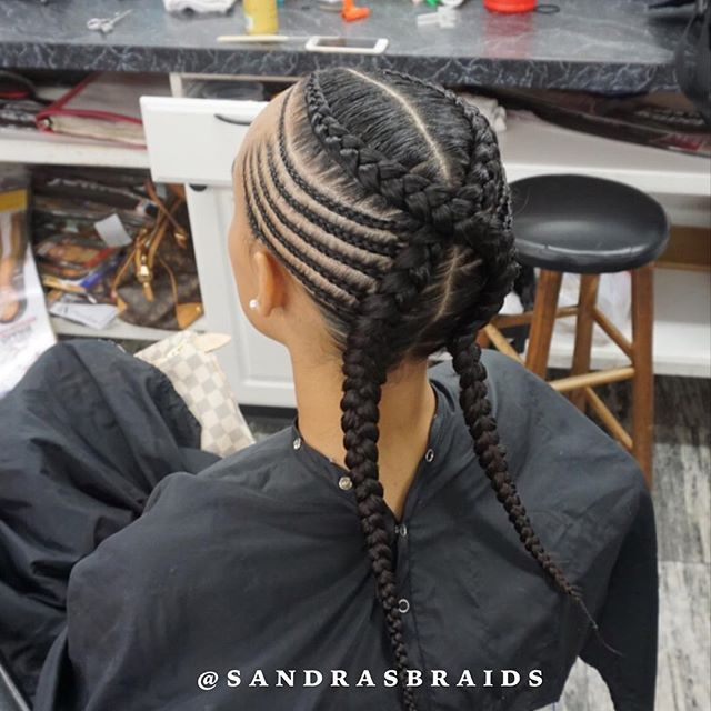 2 Braids With Small Braids Cornrows Feedinbraids