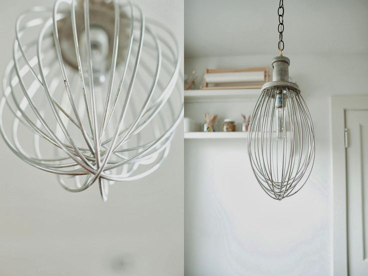 Industrial mixer whisk as lighting fixture!!!  Genius for the kitchen.  from the nato's: kitchen renovation before and after