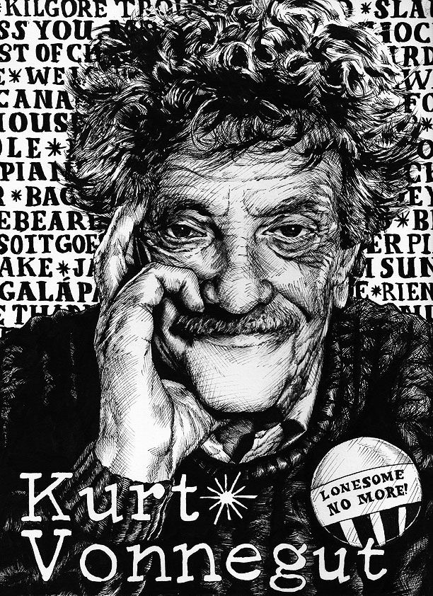 Kurt Vonnegut (in pen on watercolor paper)