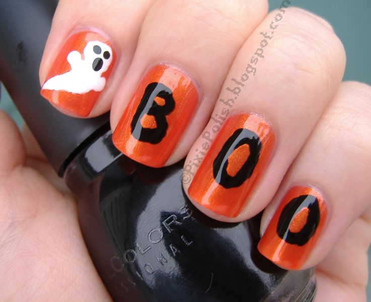 68 best halloween nail art images on pinterest halloween nail halloween nail designs this is yet another rather simple halloween nail art design the only prinsesfo Choice Image
