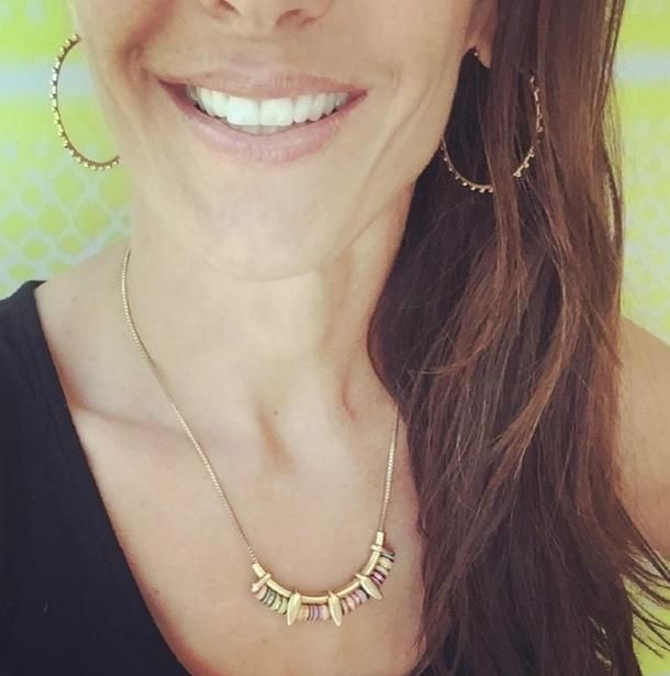 Summer sun and color making CEO Jessica Herrin extra happy today as Stella & Dot  launches the new summer collection! #stelladotstyle this Wanderer necklace is $39- and Isadora hoops $34