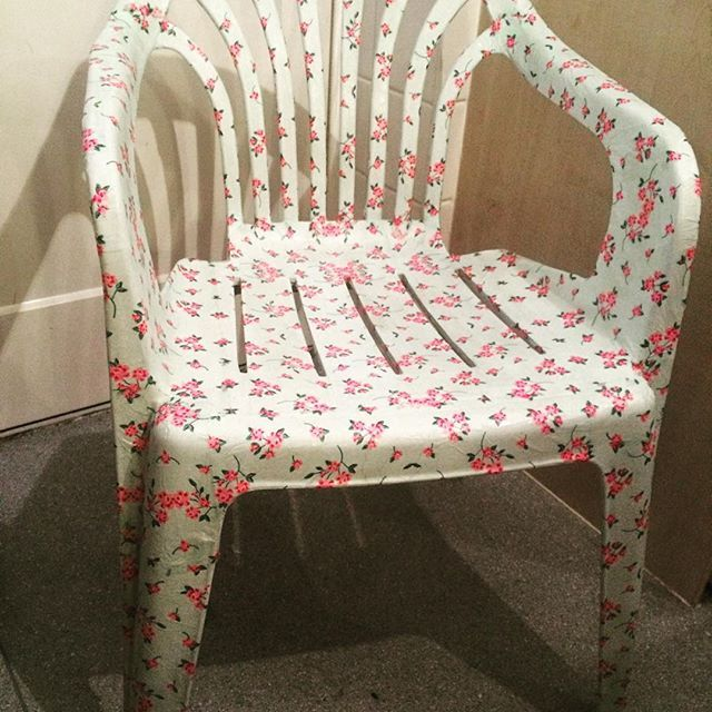Upcycle-recycle-revamp .  I have decoupaged a white plastic garden chair with napkins in a Cath Kidston inspired pattern.  To seal I used to coats of Matt varnish #upcycle #patiochair #shabbychic #revamp #recycle #decoupage #homedecor #gardenchair