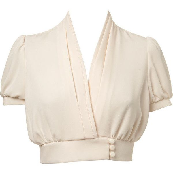 Petites Cream Crop Blouse ($39) ❤ liked on Polyvore featuring tops, blouses, shirts, blusas, women's clothing, pink top, cream blouse, polyester shirt, v-neck tops and petite shirts