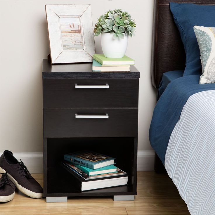This Aria Two Drawer Nightstand Adds Ambiance And