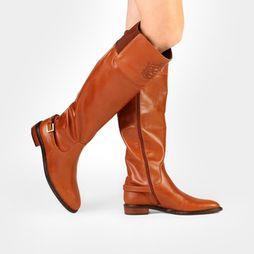 Bota Capodarte Over Knee Brasão Flat - Caramelo
