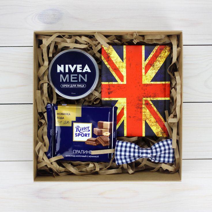 Мужской подарочный набор с блокнотов, шоколадом, кремом и бабочкой.