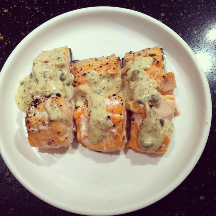 Salmon With Creamy Dijon Dill Sauce..except with tilapia or mahi.