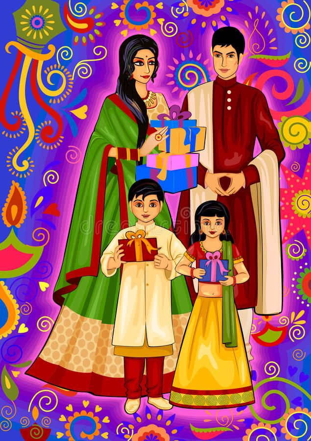 Indian Family With Gift For Diwali Festival Celebration In India Vector Design Aff Diwali Festival Diwali Festival Diwali Drawing Festival Celebration