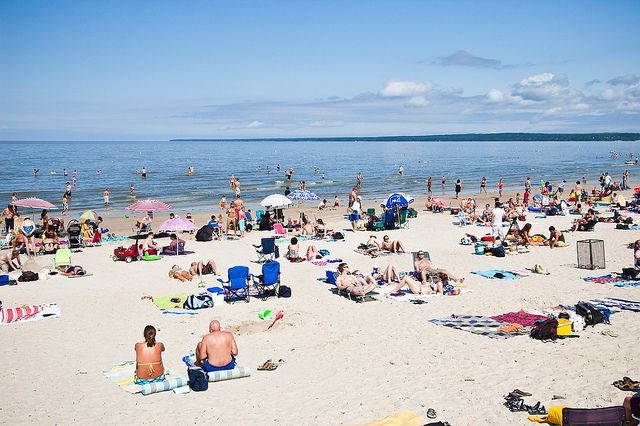 Grand Beach, Manitoba features 3 km of fine, white sand, and is backed by sand dunes that rise up to 12 meters above the beach.