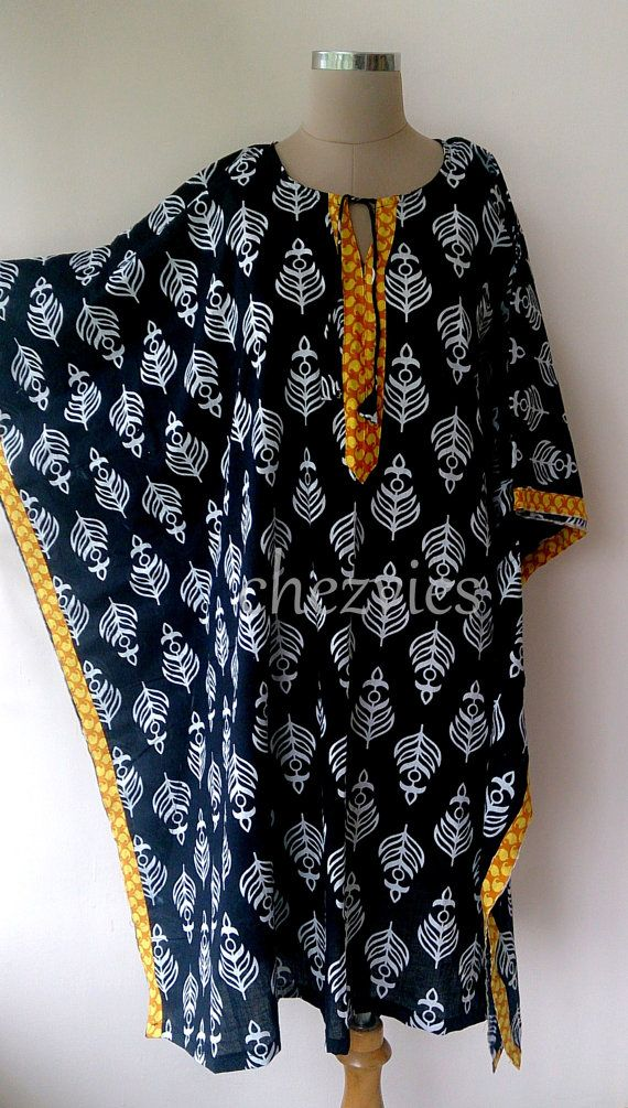 Made to Order Black cotton kaftan with colorful trim by chezvies