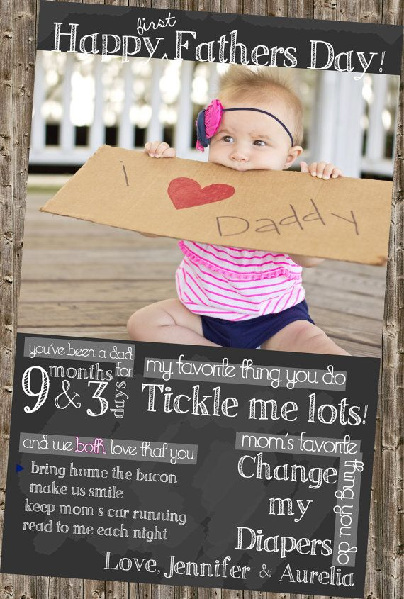 Delightful Cute First Fathers Day Gifts Part - 14: First Fatheru0027s Day Card Chalkboard Printable By DesignsByKepi