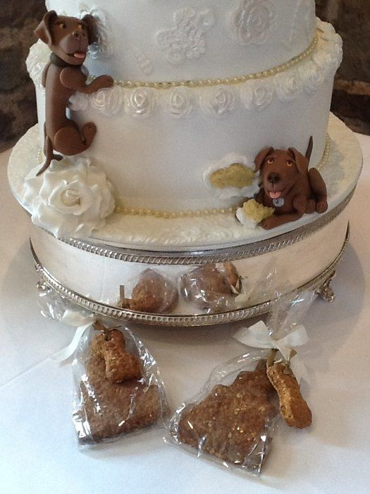 cakes with dogs decorations | For tier Lace wedding cake with dog decoration