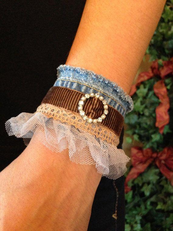 Denim cuff with ribbon lace and rhinestone by Forgetmenotkeepsake, $25.00