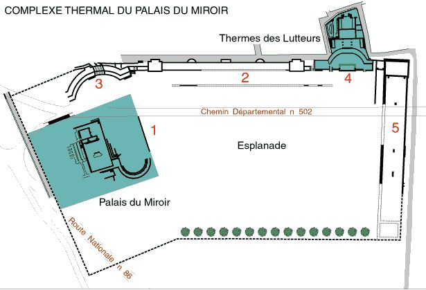 Complexe thermal du Palais du Miroir (Vienne, Isère), 2e s. : en partie souterrain, couvrant 1800 m² environ, ce bâtiment ne constitue que l'aile ouest d'un vaste complexe thermal de 9ha comprenant plusieurs constructions qui organisées autour d'une immense esplanade ; s'y trouvait notamment une statue de Vierge accroupie.