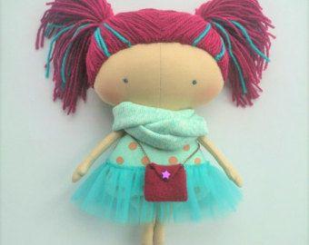 Muñeca de textiles Gft para su muñeca de niña regalo Tilda de regalo niños idea de regalo para niñas muñeca suave pelo púrpura regalo único Interior muñecas para niñas