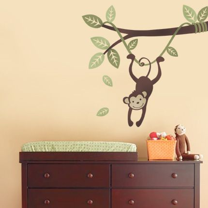 Monkey Hanging on a Branch Vine - Simple Shapes Wall Decals, Furniture, and Accessories: Baby Monkey, Baby Babyy, Branches Vines, Kids Bathroom, Baby Harmon, John Cribs, Baby Shells, Holiday Baby, Baby Rooms