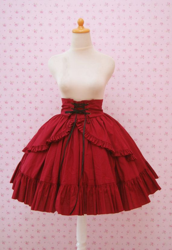 Red High Waist Skirt Gothic Lolita Ruffled by CoruscateUnique, $73.00