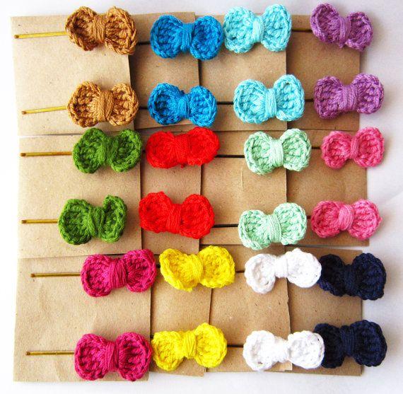 Crochet hair bows, baby hair bows, hair bow bobby pins, crochet hairbow, red hair bow, cute girls hair bow, girl hair bow, red hair clip