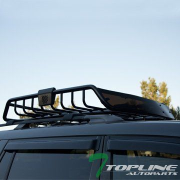 Topline Autopart Black Roof Rack Basket Car Top Cargo Baggage Carrier  Storage W/Wind Fairing