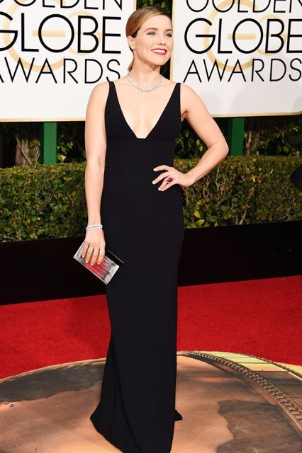 The Boldest Looks From This Year's Golden Globes Red Carpet #refinery29 http://www.refinery29.com/2016/01/100855/golden-globes-2016-red-carpet-best-dressed#slide-6 Sophia BushBush's simple black Narciso Rodriguez sheath is made less simple with a plunging neckline and silver Martin Katz accessories....