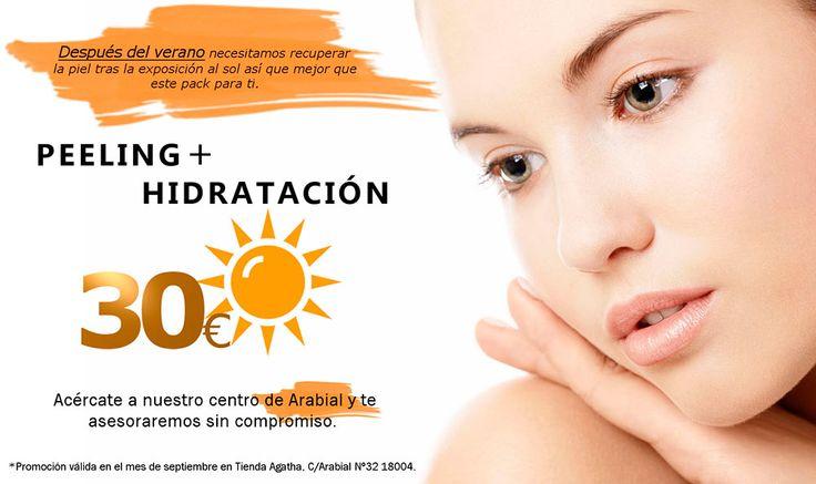 Recupera tu piel tras el verano con este Pack de Peeling + Hidratación por sólo 30€. En exclusiva en nuestro centro de belleza de Calle Arabial 32 durante todo el mes de Septiembre de 2016.