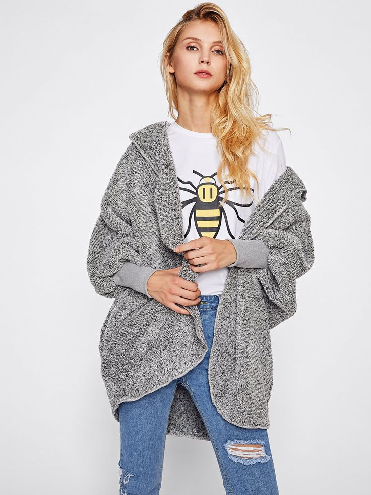 Shop Wide Cuff Hooded Dolman Sleeve Fluffy Coat online. SheIn offers Wide Cuff Hooded Dolman Sleeve Fluffy Coat & more to fit your fashionable needs.
