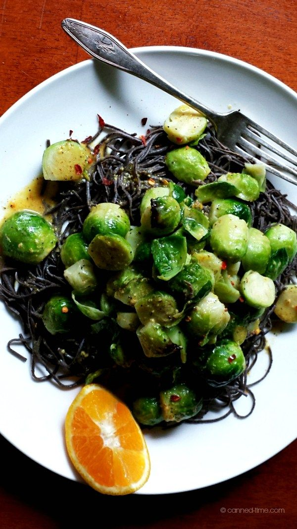 Spicy Brussels Sprouts with Black Bean Pasta
