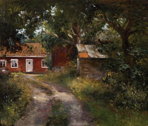 Pigshelter, Oil on canvas by Jonny Andvik
