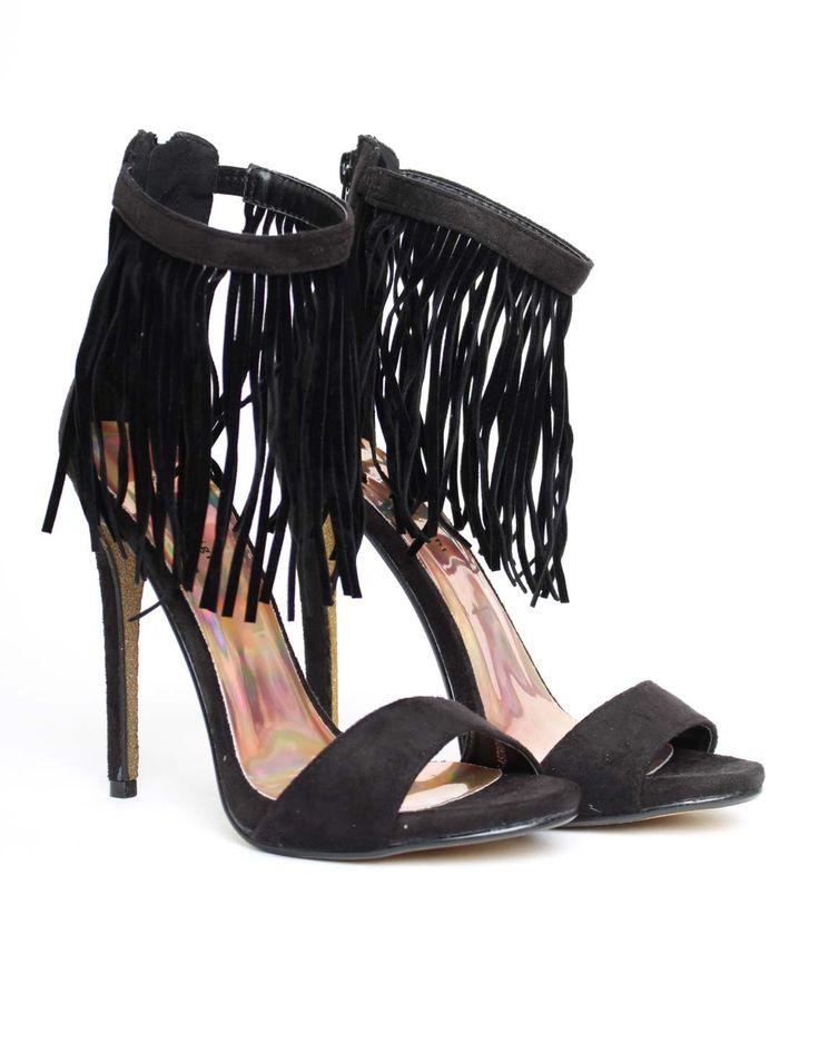 Jessica Wright Astrid Fringe Heel Black | Accent Clothing