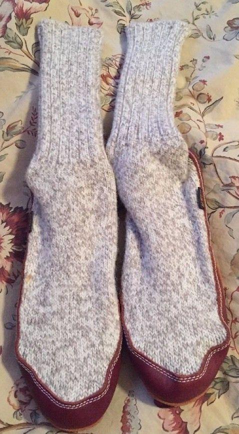 ACORN Unisex Sock Slipper, Light Grey Ragg Wool, Men's 6-7, Women's 7.5-8.5 #Acorn